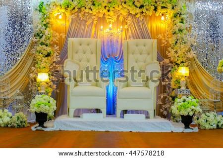 Colorful themed wedding stage.Malay Traditional Wedding. - stock photo
