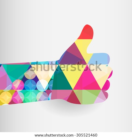 Colorful thumbs Up symbol. Abstract background.   - stock photo