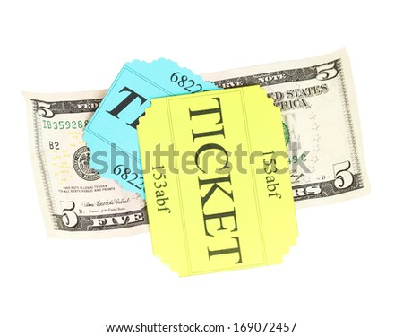 Colorful ticket with money isolated on white