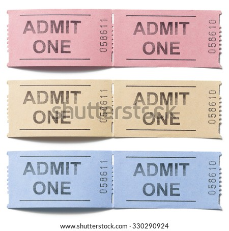 colorful tickets admit one set isolated on white - stock photo