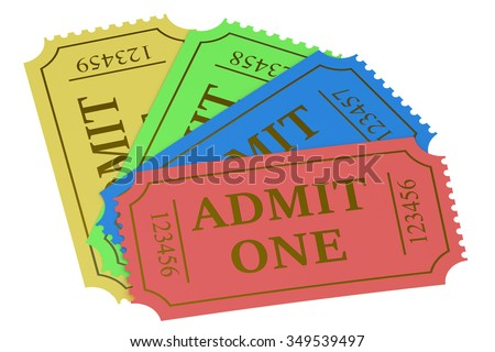 Colorful tickets isolated on white background