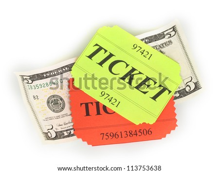Colorful tickets with money isolated on white - stock photo