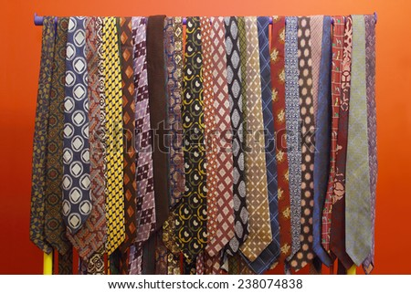 colorful tie collection from the sixties - stock photo