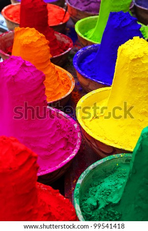 Colorful tika powders in a market of India , Asia - stock photo
