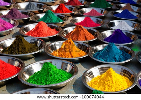 Colorful tika powders on Orcha market, India - stock photo