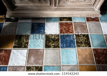 Colorful tile  on the floor in a living room