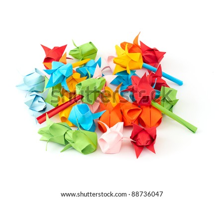colorful tiny origami tulips on white background - stock photo