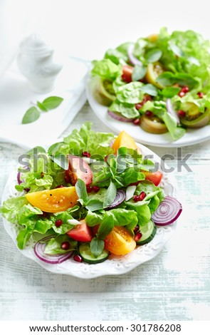 Colorful tomato salad with pomegranate seeds - stock photo