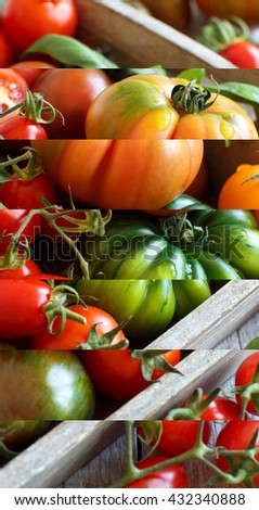 Colorful tomatoes in a tray on a wooden table