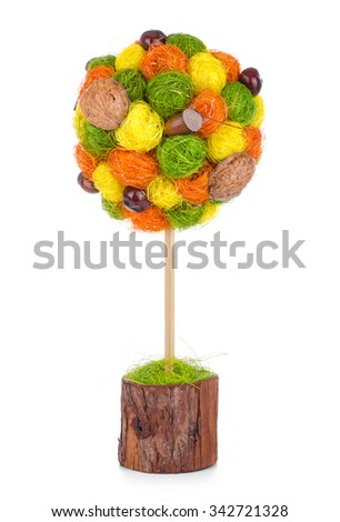 Colorful topiary, isolated on white - stock photo