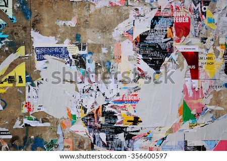 Colorful torn posters on grunge old walls as creative and abstract  background. Poster Wall Stock Images  Royalty Free Images   Vectors   Shutterstock