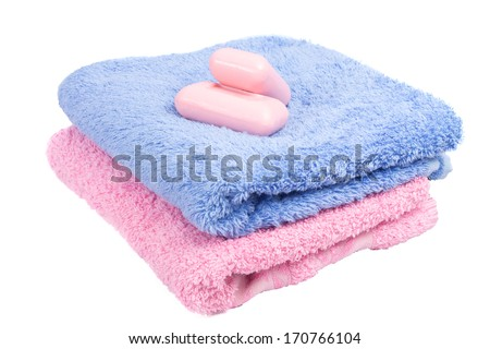 colorful towels and pink soap - stock photo