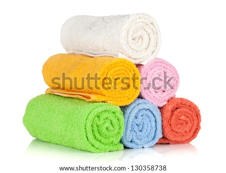 Colorful towels. Isolated on white background