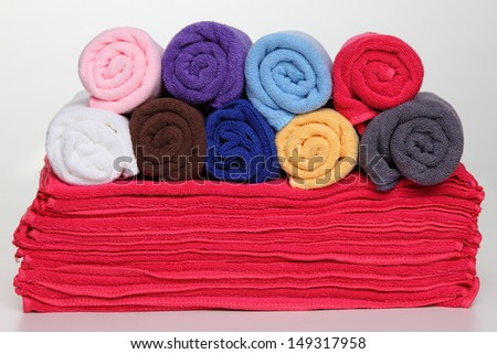 Colorful towels. on white background
