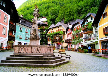 Colorful town square in the village of Hallstatt, Austria - stock photo