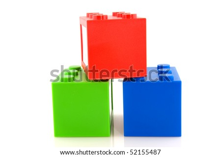 Colorful toy blocks in red green and blue