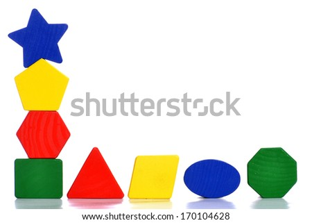 colorful toy blocks isolated on white background - stock photo