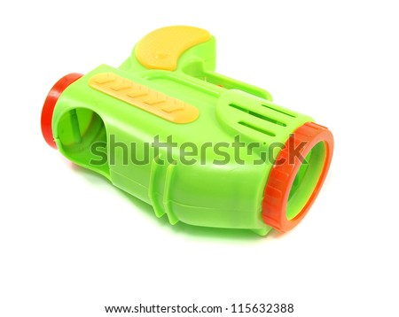 Colorful toy gun on white background - stock photo