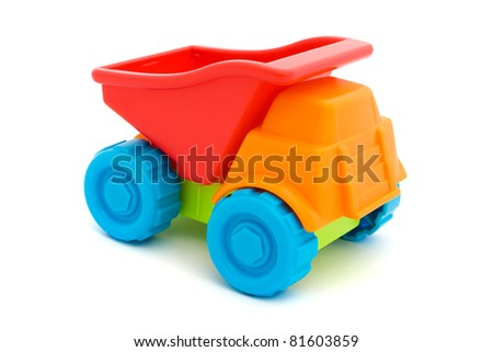 Colorful toy truck isolated on a white