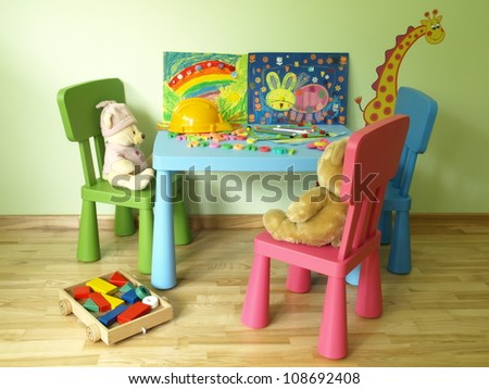 Colorful toys and crayons on blue kids table - stock photo