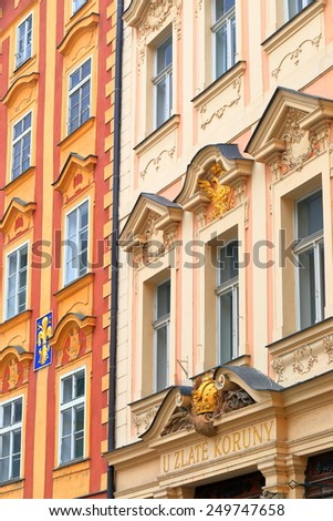 Colorful traditional buildings on the streets of Prague Old Town, Czech Republic - stock photo