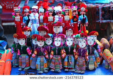 Colorful traditional dolls made by Flower Hmong people in Vietnam