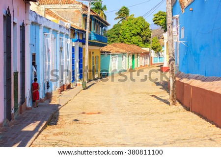 Colorful traditional houses in the colonial town of Trinidad in Cuba - stock photo