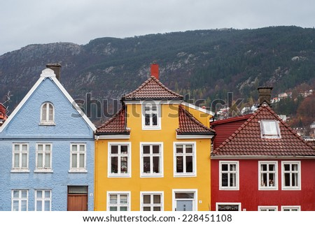 colorful traditional houses with a lot of windows in Bergen, Norway - stock photo