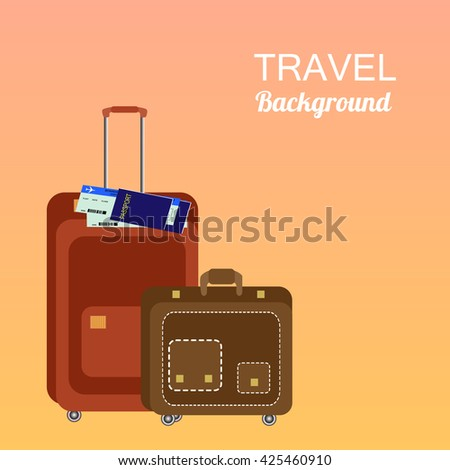 Colorful travel trip concept vector flat stock illustration colorful travel and trip concept vector flat banner with travel bag and world mapavel gumiabroncs Gallery