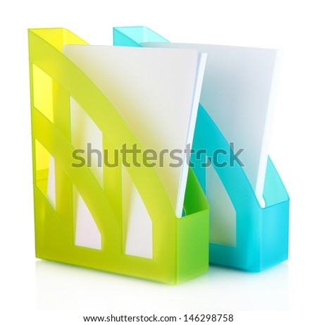 Colorful trays for papers isolated on white