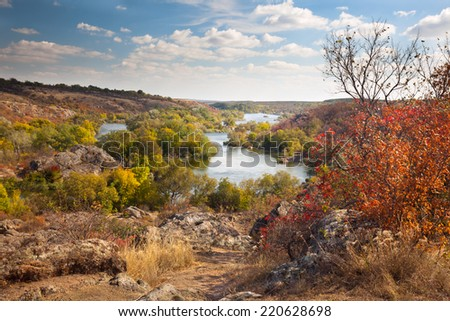 Colorful Trees and River - beautiful sunny autumn day, panoramic scene - stock photo