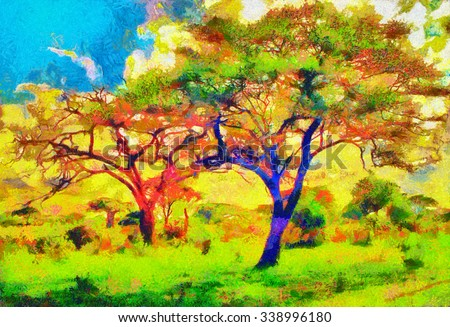 Colorful trees impressionist african landscape oil painting - stock photo