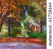 Colorful trees in fall/autumn - stock photo