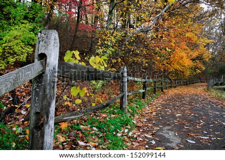 Colorful Trees Over A Walking Path And Fence During Autumn At Sharon Woods In Southwestern Ohio, USA - stock photo