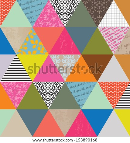 COLORFUL TRIANGLES PATTERN. For prints, fabrics, textiles, wallpapers, web, blog etc. - stock photo