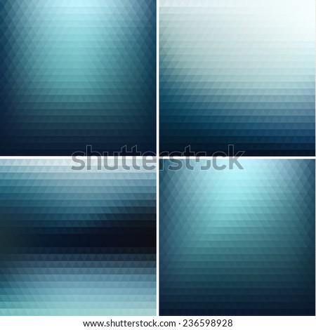 Colorful triangular backgrounds set  - stock photo