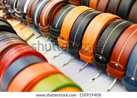 Colorful trouser belts - stock photo
