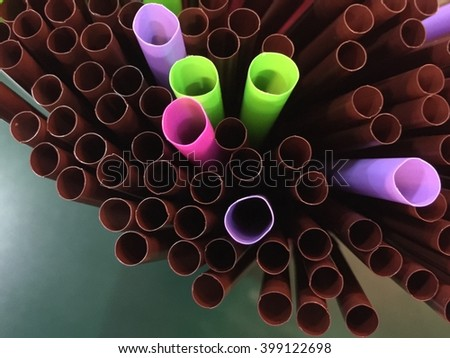 Colorful tubes for drinking - stock photo