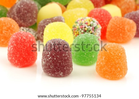 colorful tum tum candy on a white background
