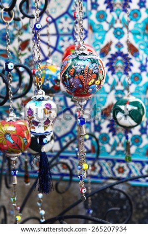 Colorful turkish crockery souvenirs at oriental bazaar  - stock photo