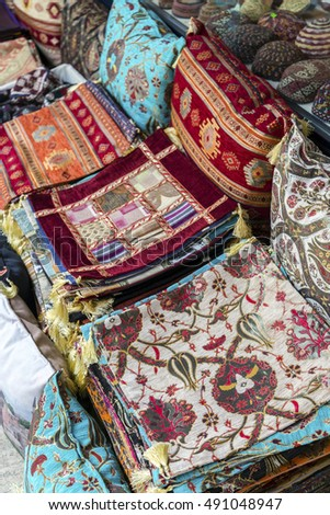 Colorful turkish fabric samples on the market.
