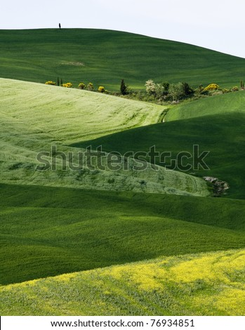 Colorful tuscany landscape in spring time - stock photo