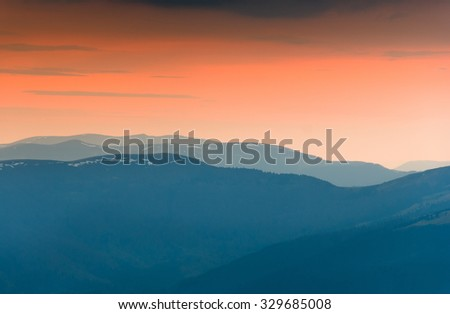 Colorful twilight in the autumn mountains.