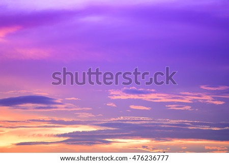 colorful twilight sunset sky with clouds