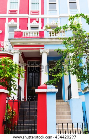colorful typical row houses in Notting Hill, London, UK
