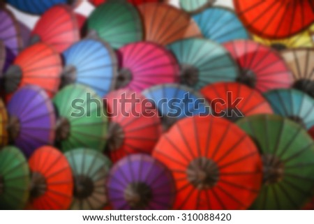 Colorful umbrella , blur style picture - stock photo