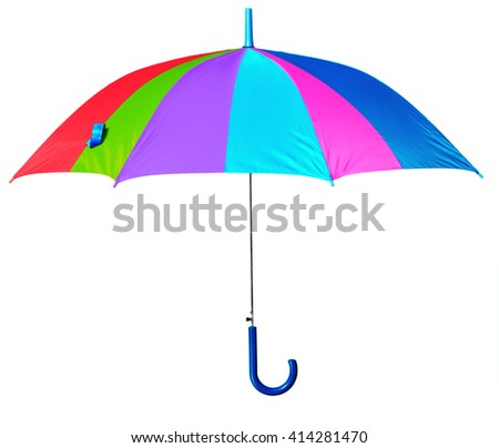 colorful umbrella isolated against white background - stock photo