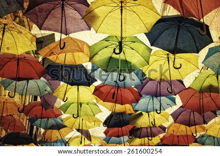 Colorful umbrella street decoration on grunge background. Belgrade streets, Serbia.  - stock photo
