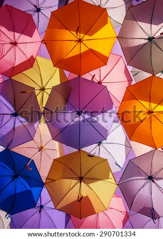 colorful umbrellas. color umbrellas urban decoration. - stock photo