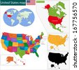 Colorful USA map with states and capital cities - stock photo